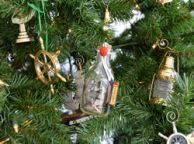 Santa Maria Model Ship in a Glass Bottle Christmas Tree Ornament