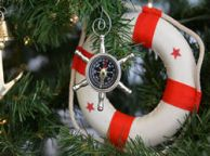 Chrome Ship Wheel Compass Christmas Tree Ornament