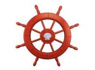 Red Decorative Ship Wheel With Seashell 24