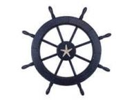 Wooden Rustic All Dark Blue Decorative Ship Wheel With Starfish 30