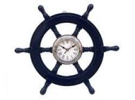 Deluxe Class Dark Blue Wood and Chrome Pirate Ship Wheel Clock 18