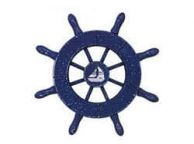 Rustic Dark Blue Decorative Ship Wheel With Sailboat 6