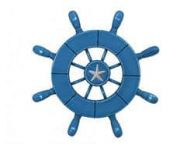 Rustic All Light Blue Decorative Ship Wheel With Starfish 9