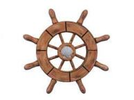 Rustic Wood Finish Decorative Ship Wheel With Seashell  6