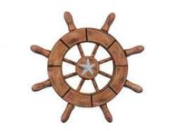 Rustic Wood Finish Decorative Ship Wheel With Starfish 6