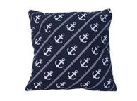 Decorative Blue Pillow with White Rope and Anchors Throw Pillow 16