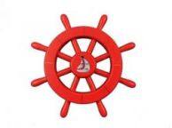 Red Decorative Ship Wheel With Sailboat 12