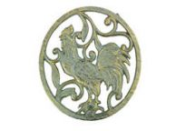 Antique Seaworn Bronze Cast Iron Rooster Trivet 8