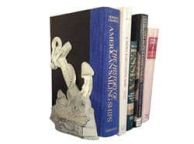Set of 2- Whitewashed Cast Iron Anchor Book Ends 8