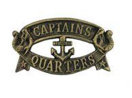 Antique Gold Cast Iron Captains Quarters Sign 8