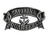 Antique Silver Cast Iron Captains Quarters Sign 8
