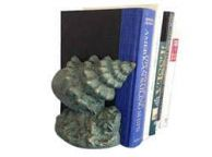 Set of 2- Antique Seaworn Bronze Cast Iron Conch Shell Book Ends 9