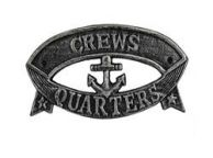 Antique Silver Cast Iron Crews Quarters Sign 8