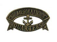 Antique Gold Cast Iron Mermaid Quarters Sign 8