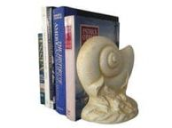 Set of 2- Antique White Cast Iron Nautilus Book Ends 8
