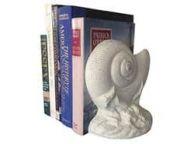 Set of 2- Whitewashed Cast Iron Nautilus Book Ends 8