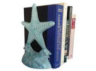 Set of 2- Light Blue Whitewashed Cast Iron Starfish Book Ends 11