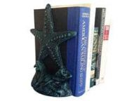 Set of 2- Seaworn Blue Cast Iron Starfish Book Ends 11