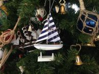 Wooden Blue Striped Model Sailboat Christmas Tree Ornament