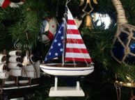 Wooden USA Flag Sailboat Model Christmas Tree Ornament