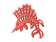 Rustic Red Cast Iron Marlin Trivet 8