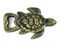 Antique Gold Cast Iron Turtle Bottle Opener 4.5