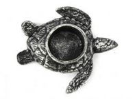 Antique Silver Cast Iron Turtle Decorative Tealight Holder 4.5