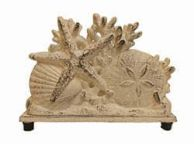 Aged White Cast Iron Seashell Napkin Holder 7