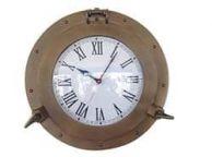 Antique Brass Decorative Ship Porthole Clock 15