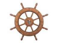 Rustic Wood Finish Decorative Ship Wheel With Seagull 24