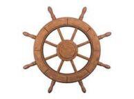 Rustic Wood Finish Decorative Ship Wheel 24