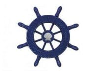 Rustic Dark Blue Decorative Ship Wheel With Seashell  6
