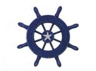 Rustic Dark Blue Decorative Ship Wheel With Starfish 6