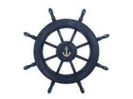 Rustic All Dark Blue Decorative Ship Wheel With Anchor 24