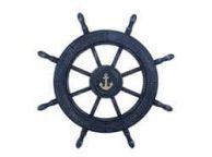 Rustic All Dark Blue Decorative Ship Wheel With Anchor 24