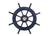 Rustic All Dark Blue Decorative Ship Wheel With Seashell 24