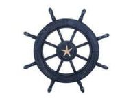 Rustic All Dark Blue Decorative Ship Wheel With Starfish 24
