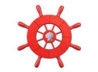 Red Decorative Ship Wheel With Seashell 9