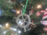 Antique Bronze Cast Iron Ship Wheel Decorative Christmas Ornament 4
