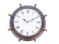 Antique Brass Ship Wheel Clock 15
