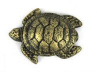 Antique Gold Cast Iron Decorative Turtle Paperweight 4