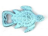 Dark Blue Whitewashed Cast Iron Turtle Bottle Opener 4.5