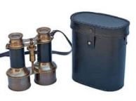 Commanders Antique Brass Binoculars with Leather and Leather Case 6