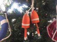 Wooden Orange Decorative Maine Lobster Trap Buoy Christmas Ornament 7