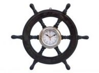 Deluxe Class Wood and Chrome Pirate Ship Wheel Clock 18