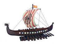 Wooden Viking Drakkar with Embroidered Raven Limited Model Boat 24