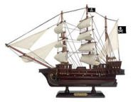 Wooden Ben Franklins Black Prince White Sails Pirate Ship Model 15