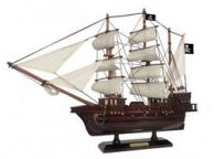 Wooden Ben Franklins Black Prince White Sails Pirate Ship Model 20