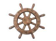 Rustic Wood Finish Decorative Ship Wheel 12