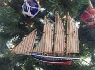 Wooden Atlantic Model Sailboat Decoration Christmas Ornament 7